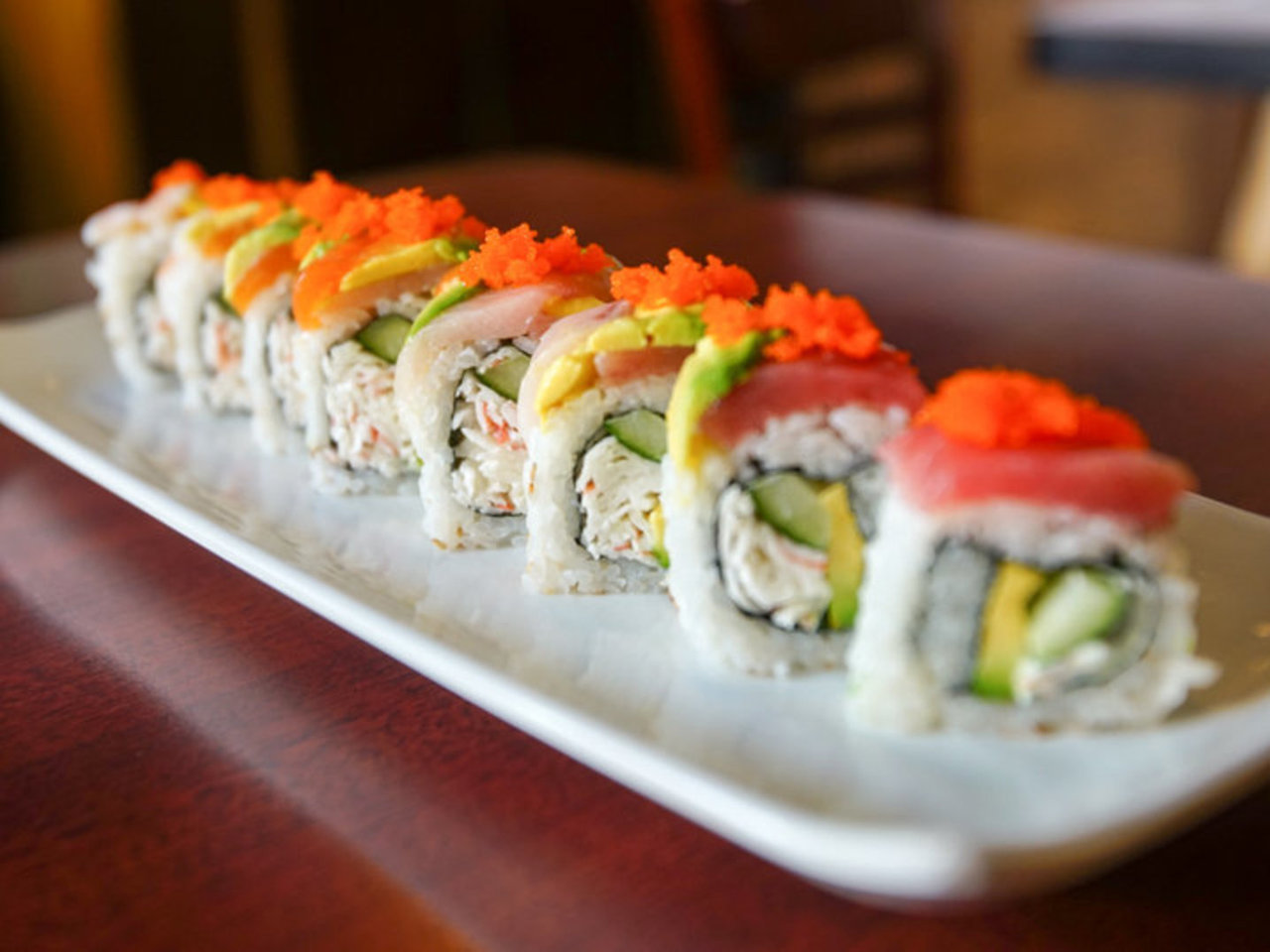 We prepare a California roll and other varieties of delicious rolls